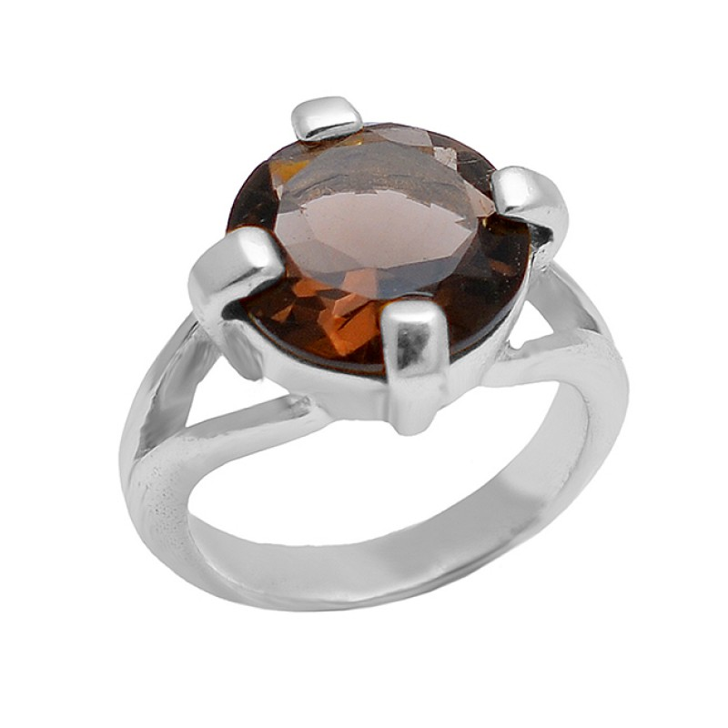 Smoky Quartz Round Shape Gemstone 925 Sterling Silver Gold Plated Ring