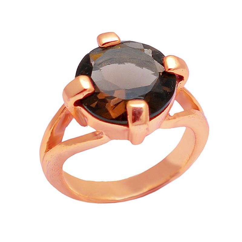 Smoky Quartz Round Shape Gemstone 925 Sterling Silver Gold Plated Ring
