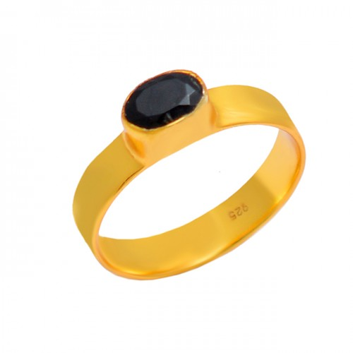 Unique Designer Oval Shape Black Onyx Gemstone 925 Silver Gold Plated Ring