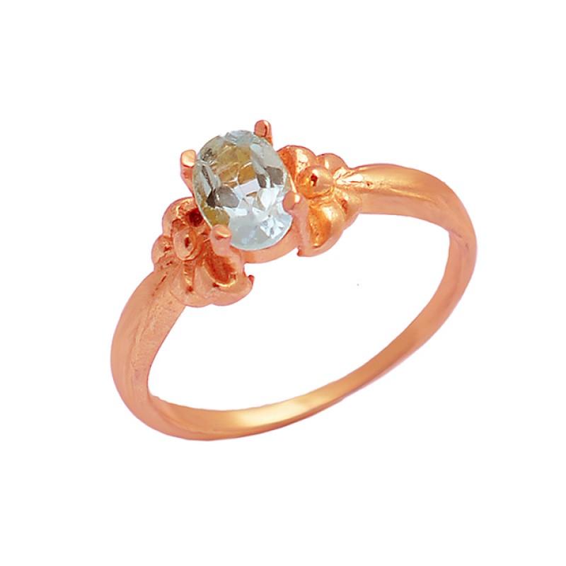 Oval Shape Blue Topaz Gemstone 925 Sterling Silver Gold Plated Designer Ring