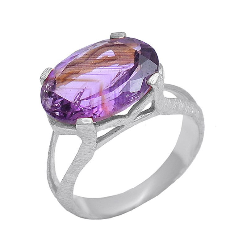 925 Sterling Silver Amethyst Oval Shape Gemstone Gold Plated Ring Jewelry