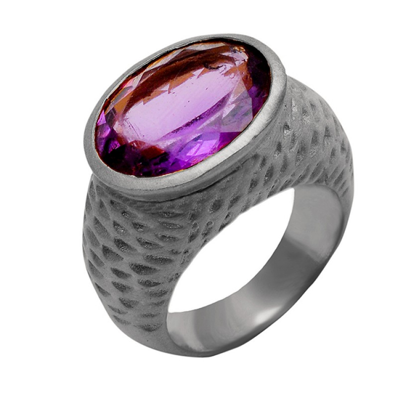 Amethyst Oval Shape Gemstone 925 Sterling Silver Gold Plated Ring Jewelry