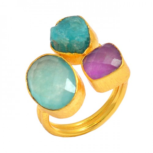 Handcrafted Designer Multi Color Gemstone 925 Sterling Silver Gold Plated Ring