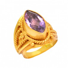 Stylish Handmade Amethyst Gemstone 925 Sterliing Silver Gold Plated Ring