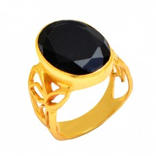 925 Sterling Silver Oval Shape Black Onyx Gemstone Gold Plated Ring