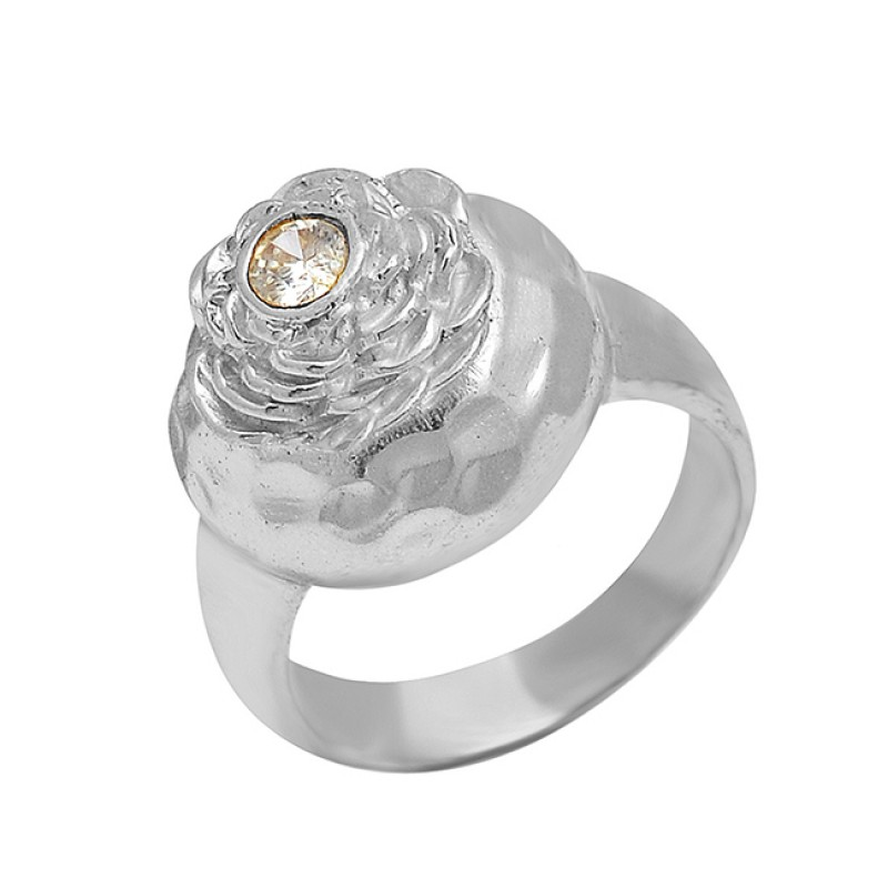 925 Sterling Silver Cubic Zirconia Gemstone Gold Plated Ring Jewelry