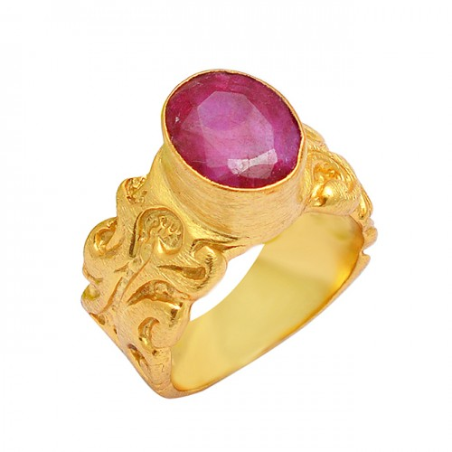 Oval Shape Ruby Gemstone 925 Sterling Silver Gold Plated Designer Ring  jewelry