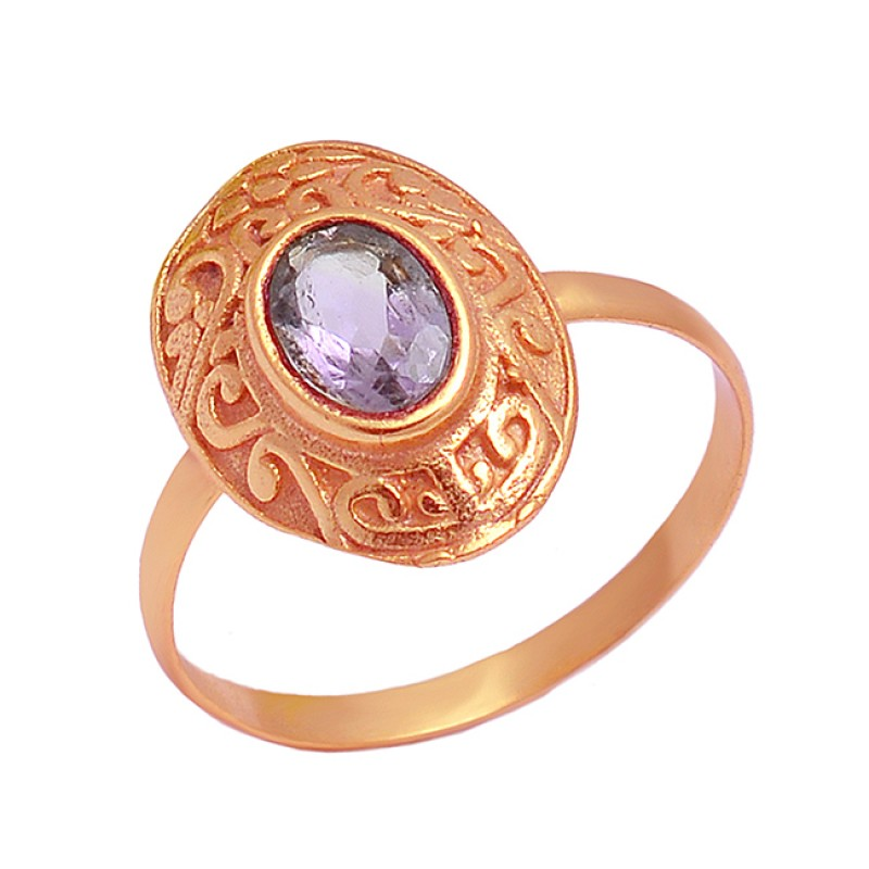 Vintage Look Amethyst Oval Shape Gemstone 925 Sterling Silver Gold Plated Ring