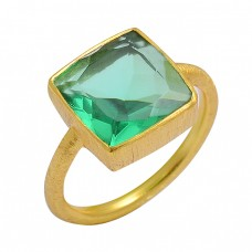 925 Sterling Silver Green Quartz Square Shape Gemstone Gold Plated Ring