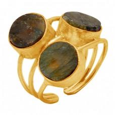 Round Shape Labradorite Gemstone 925 Sterling Silver Ring Jewelry