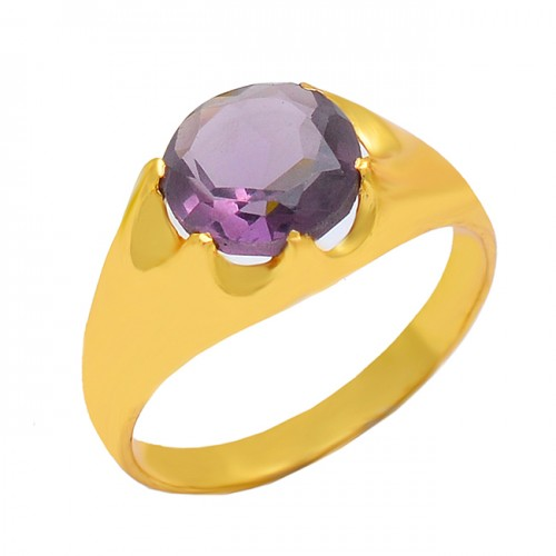 925 Sterling Silver Amethyst Round Shape Gemstone Designer Gold Plated Ring