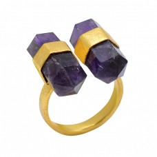 925 Sterling Silver Pencil Shape Amethyst Gemstone Gold Plated Ring