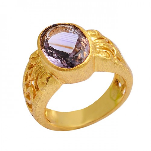 Faceted Oval Shape Amethyst 925 Sterling Silver Gold Plated Ring jewelry