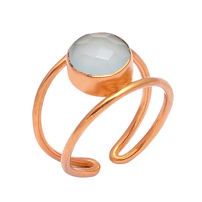 Round Shape Chalcedony  Gemstone 925 Sterling Silver Gold Plated Ring