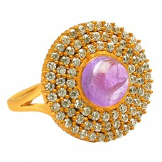Amethyst cubic Zirconia Gemstone 925 Sterling Silver Gold Plated Jewelry Ring