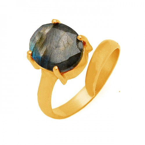 Oval Shape Labradorite Gemstone 925 Sterling Silver Prong Setting Gold Plated Ring Jewelry