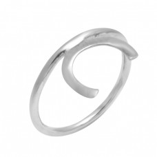 C Shape Handmade Designer Plain 925 Sterling Silver Ring Jewelry