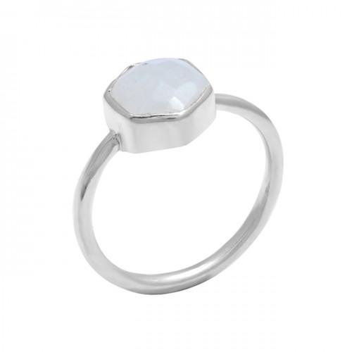 925 Sterling Silver Hexagon Rainbow Moonstone Handmade Designer Ring