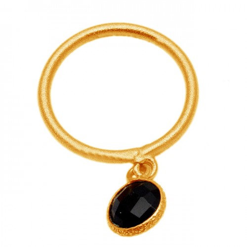 Round Shape Black Onyx Gemstone 925 Sterling Silver Gold Plated Ring Jewelry