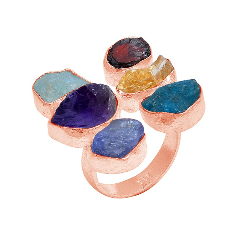 Raw Material Multi Color Rough Gemstone 925 Sterling Silver Handmade Ring