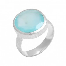 Oval Shape Chalcedony Gemstone 925 Sterling Silver Designer Ring Jewelry
