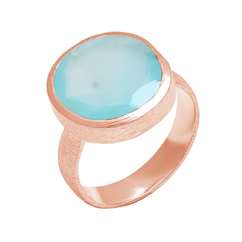Oval Shape Chalcedony Gemstone 925 Sterling Silver Designer Ring Jewelry