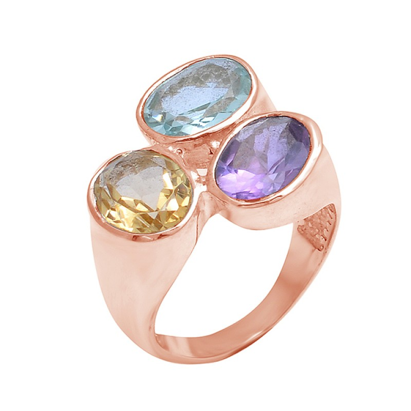 Oval Shape Citrine Amethyst Topaz Gemstone 925 Sterling Silver Ring Jewelry