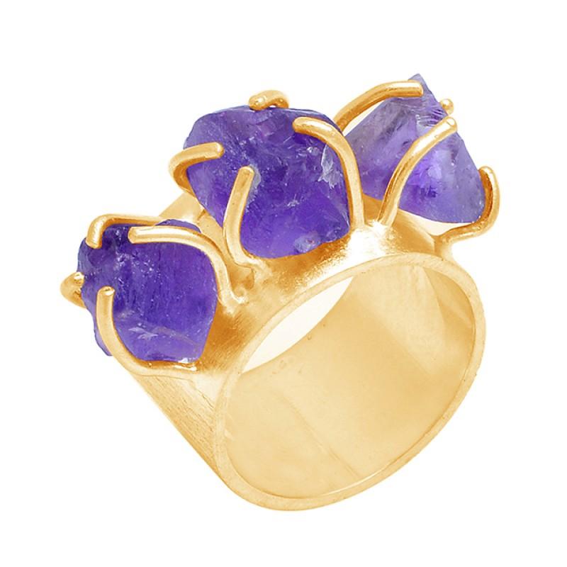 Handmade Designer Amethyst Rough Gemstone 925 Sterling Silver Ring Jewelry