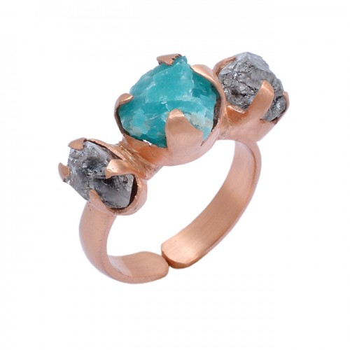 925 Sterling Silver Apatite Herkimer Rough Gemstone Rose Gold Plated Ring