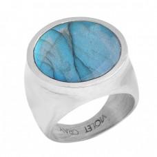Handcrafted Designer Round Shape Labradorite Gemstone 925 Sterling Silver Ring