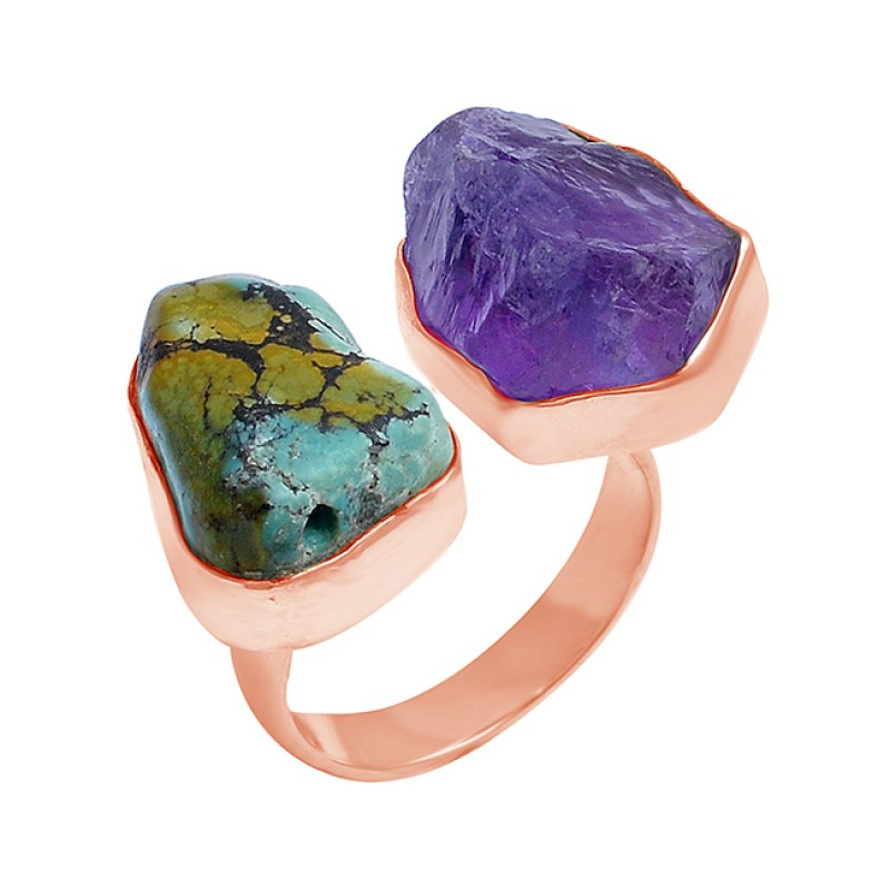 Amethyst Turquoise Rough Gemstone 925 Sterling Silver Designer Ring Jewelry