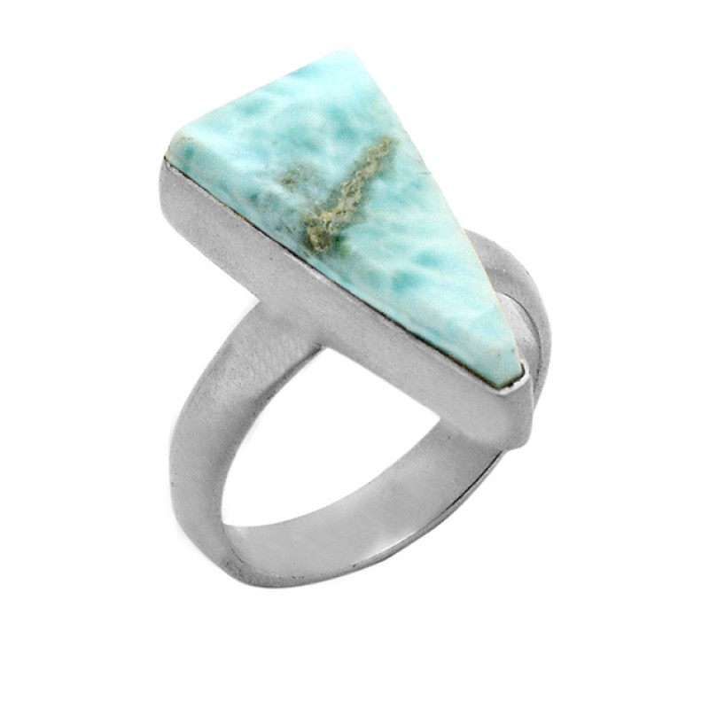 Cabochon Triangle Shape Larimar Gemstone 925 Sterling Silver Gold Plated Ring Jewelry