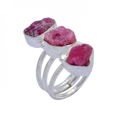925 Sterling Silver Ruby Rough Gemstone Handmade Designer Ring Jewelry