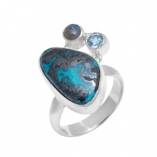 925 Sterling Silver Chrysocolla Labradorite Topaz Gemstone Handmade Ring