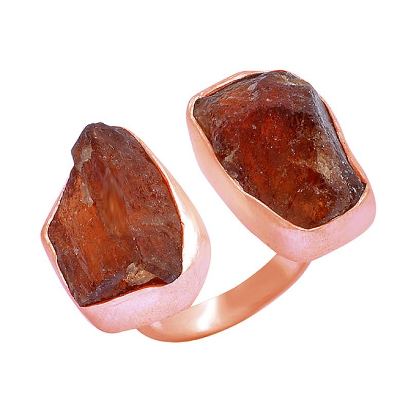 925 Sterling Silver Hessonite Rough Gemstone Handmade Ring Jewelry