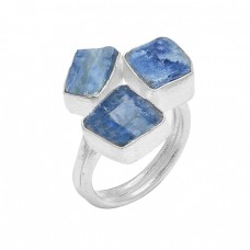925 Sterling Silver Blue Kyanite Rough Gemstone Handcrafted Designer Ring