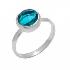 925 Sterling Silver Round Shape Blue Quartz Gemstone Designer Ring Jewelry