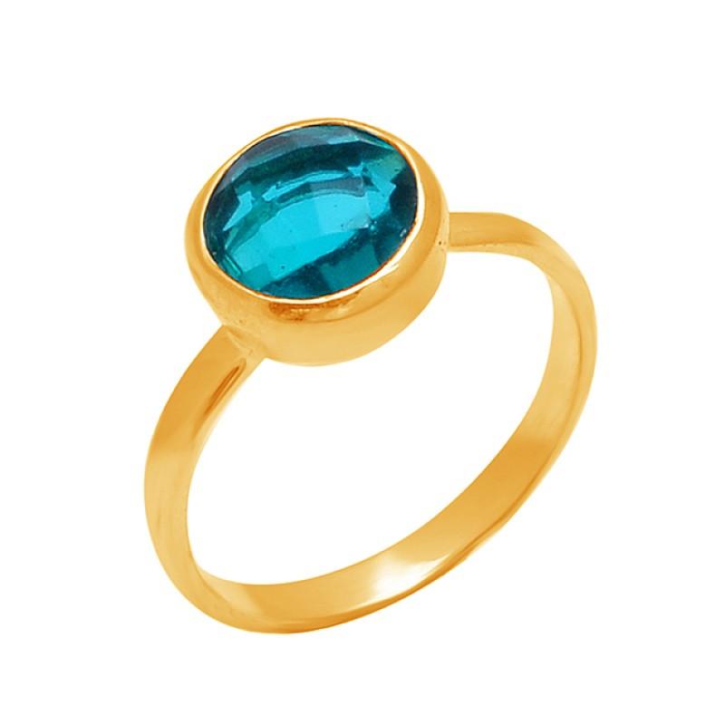925 Sterling Silver Round Shape Blue Quartz Gemstone Designer Ring Jewelry
