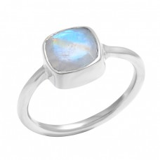 925 Sterling Silver Cushion Shape Rainbow Moonstone Gemstone Handmade Ring