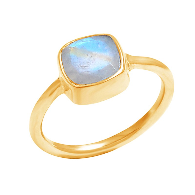 925 Sterling Silver Cushion Shape Rainbow Moonstone Gemstone Handmade Ring