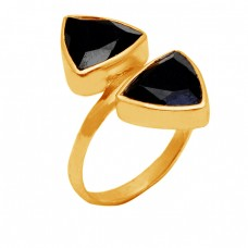 Triangle Shape Black Onyx Gemstone 925 Sterling Silver Gold Plated Ring Jewelry