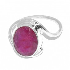 925 Sterling Silver Oval Shape Ruby Gemstone Band Designer Ring Jewelry