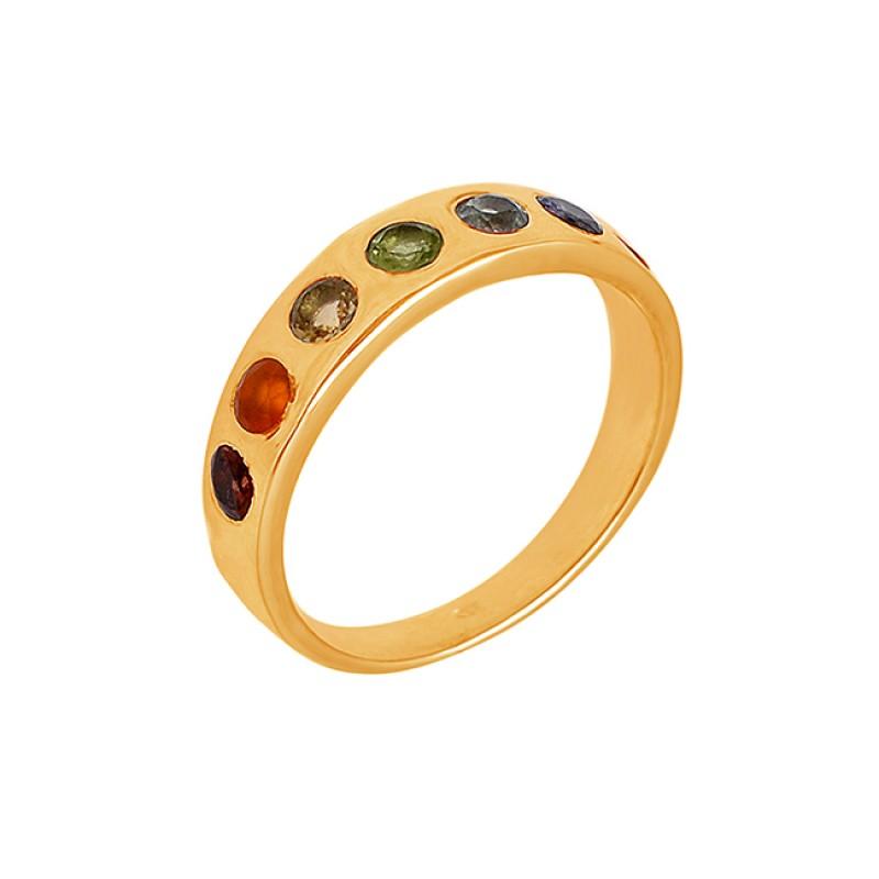Faceted Round Shape Multi Color Gemstone 925 Sterling Silver Designer Ring
