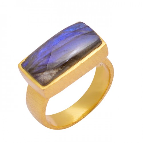 Labradorite Rectangle Shape Gemstone 925 Sterling Silver Gold Plated Ring