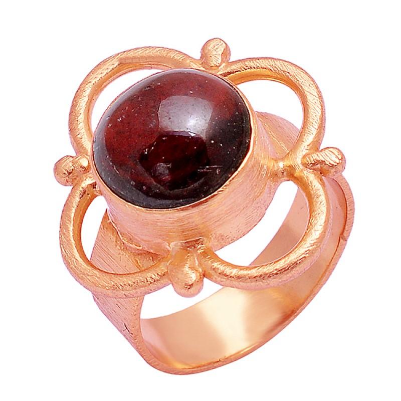 Fashionable Garnet Cabochon Round Gemstone 925 Silver Gold Plated Designer Ring
