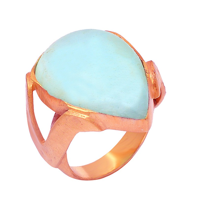 Cabochon Pear Shape Blue Aragonite Gemstone 925 Silver Gold Plated Ring