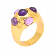 925 Sterling Silver Cabochon Amethyst Gemstone Gold Plated Designer Ring