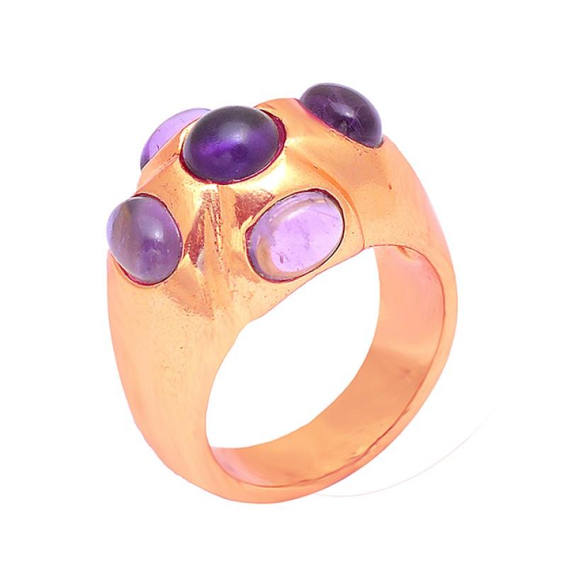 925 Sterling Silver Cabochon Amethyst Gemstone Gold Plated Designer Ring