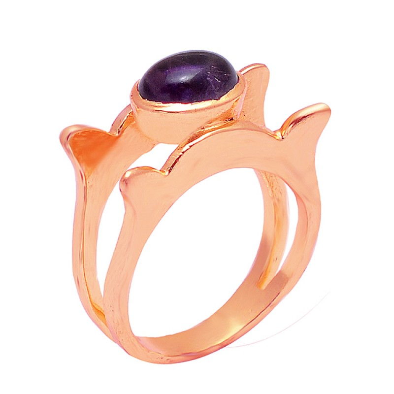 925 Sterling Silver Oval Cabochon Amethyst Gemstone Gold Plated Ring Jewelry