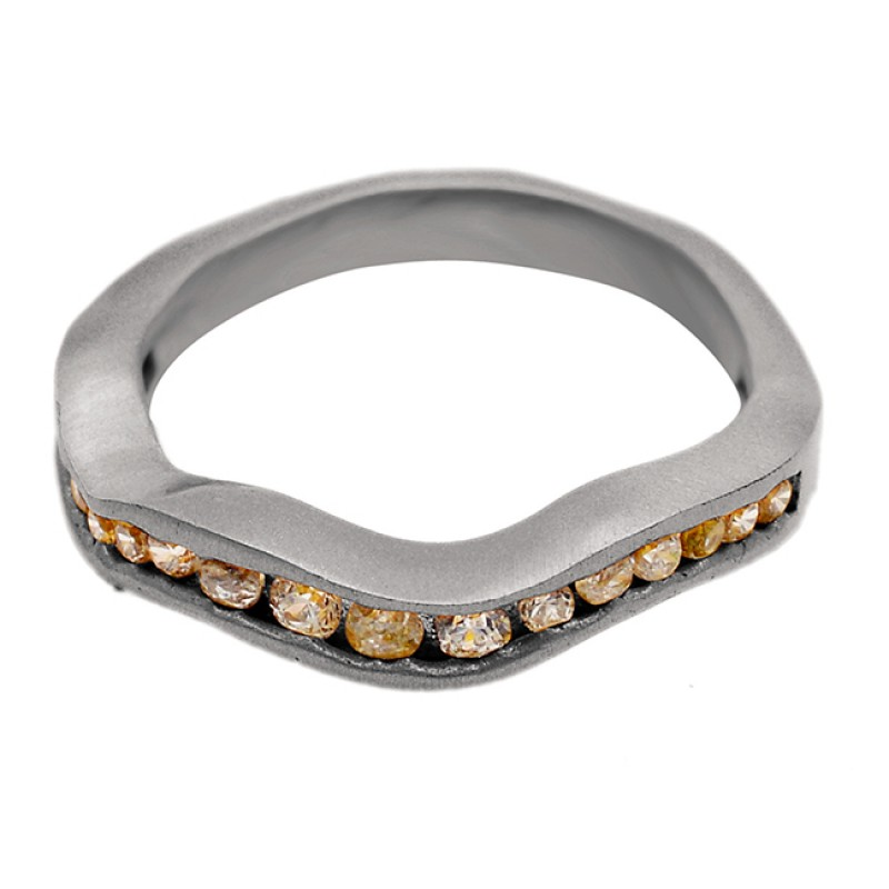 Pave Cubic Zirconia Gemstone 925 Sterling Silver Gold Plated Designer Ring Jewellery